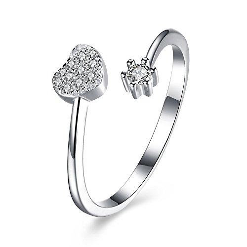 iCAREu 925 Sterling Silver Zircons Heart Resizable Fashion Rings for Women (Wedding, - Lively Blake Glasses