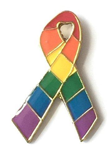 Rainbow LGBT Gay Pride Bar Scarf Ribbon Pin Badge - GOLD plated