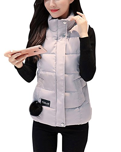 Vests Warm Sleeveless Grey Stand Winter Gilet Thick Coats Womens Collar Y1wXqxC