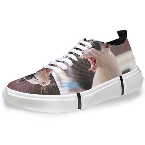 MONTOJ Men Shoes Animal Yawn Cat Pattern Men's Casual Sneaker