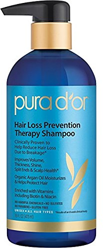 Pura d'or Hair Loss Prevention Premium Organic Shampoo, Brown and Blue-16 Ounces (Pack of 2)