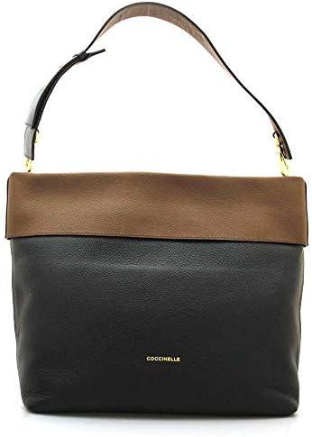 Coccinelle Sac 25 à épaule bicolore noir marron en cuir avec bandoulière 36 x 30 x 18 cm