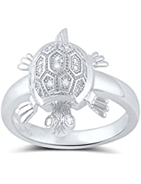 Sterling Silver Cz Turtle Ring (Size 4 - 9)