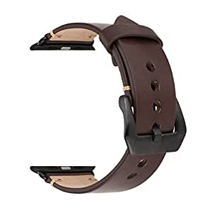 Apple Watch Band, Benuo Solid Metal Buckle Adapter Pin Genuine Leather Band for Apple Watch 42