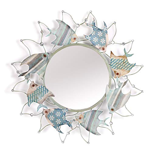 Bathroom mirror Decorative Wall Mirror, Mediterranean Style 3D Marine Fish Metal Border, -