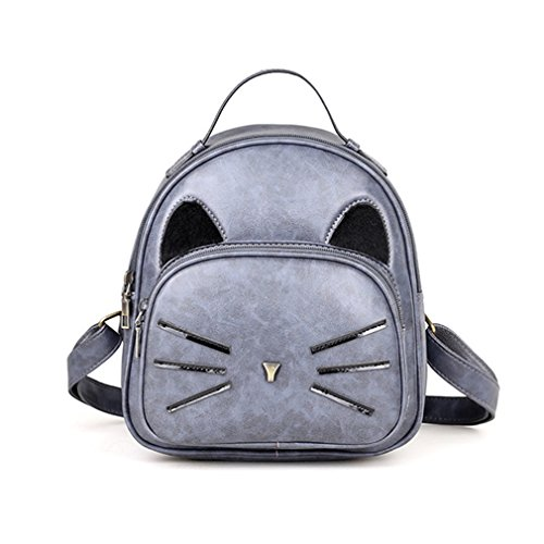 Cat Ear Design Backpack Vintage PU Leather Backpack Cute Cats Backpacks For School Bags Small Travel Bags Gray 12 Inches