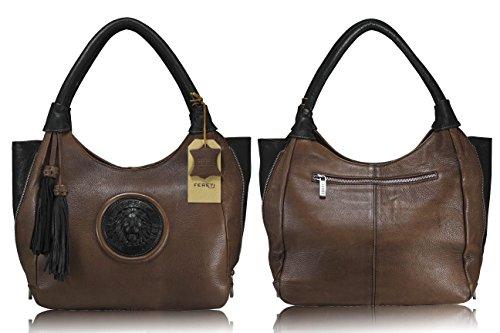 véritable marron assortie FERETI portefeuille 3D à vachette lion cognac main de bicolore avec en cuir Sac rqnSHqYZ