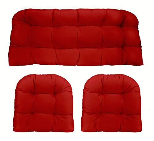 RSH DECOR Indoor Outdoor 3- Piece Tufted Wicker Cushion Set Made with Solid Red -