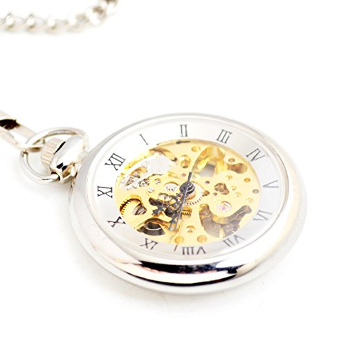 Steampunk Open Face Men Pocket watch - BoShiYa Classic Skeleton Movement Rome Dial Self Automatic Mechanical Hand Wind-up Pocket Watches with Blet Chain Silver (Face Pocket Watch Timepiece)