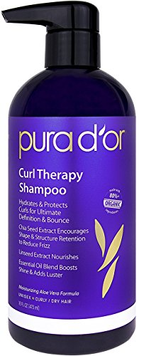 PURA D'OR Curl Therapy Shampoo for Curly, Wavy or Frizzy Hair, Improves Shine, Definition & Bounce, Gentle Sulfate Free Formula Infused with Natural & Organic Ingredients, for Men and Women, 16 Fl Oz