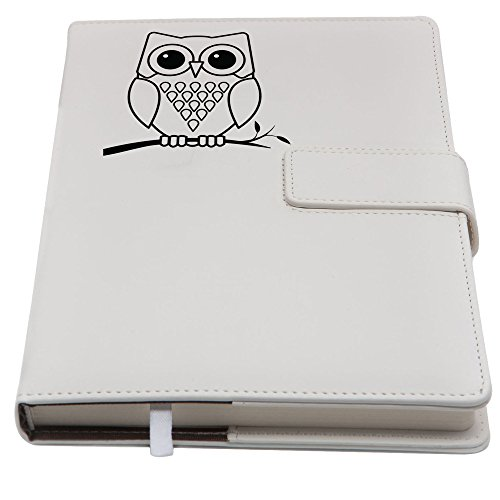 Refillable Writing Journal | Faux Leather Cover, Magnetic Clasp + Pen Loop | Embossed Owl Blank Journal | 200 Lined Pages, 5 x 8 Inches for Travel, Personal, Poetry | White | The Amazing Office