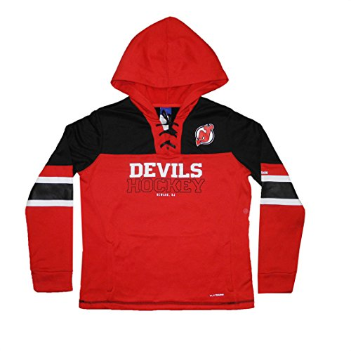 (PLUS SIZE NHL NEW JERSEY DEVILS Womens Athletic Warm Pullover Hoodie 2XL Red)