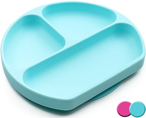 SiliKong Silicone Suction Plates For Toddlers, BPA Free, Dishwasher, Microwave & Oven Safe, Non Slip, One-piece Divided Baby Placemat, Non Skid Stay Put Bowls & Feeding Dishes For Kids (Blue)