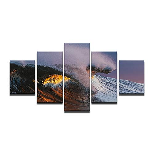 40x60 40x80 40x100cm No Frame Canvas Wall Art Pictures Frame Home Decor HD Printed 5 Pieces Sunset Sea Waves Poster Beach Sun Seascape Painting