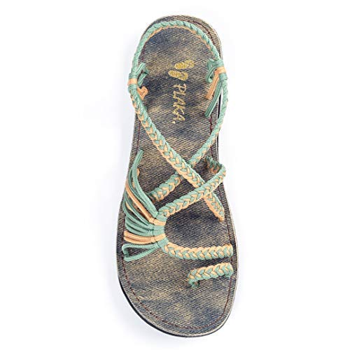 Plaka Flat Summer Sandals for Women Sage Green Golden Yellow Size 11 Palm Leaf Comfort Fit Rope Ring