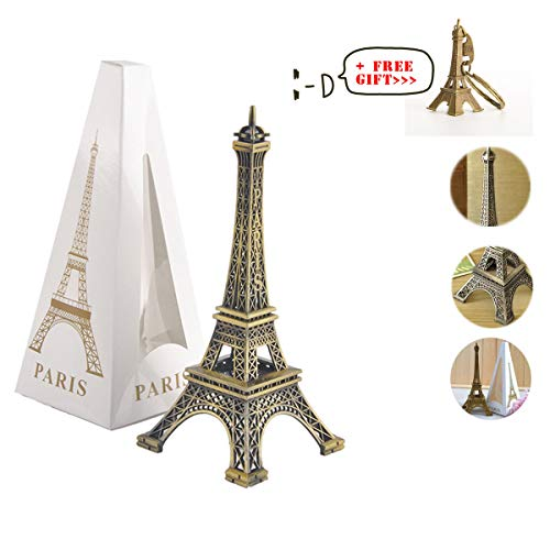 (Metal French Eiffel Tower Statue Figurine Replica Centerpiece Room Table Decor Cake Topper French Souvenir Gift from Paris, France (Small : 7 Inches))