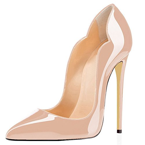 Jushee Women's Stiletto High Heels Closed Pointed Toe Patent Nude Pumps Shoes 10 UK