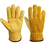 HiFon Zone Leather Work Gloves, Genuine Cowhide Leather Gardening Gloves for Men & Women - Good Grip & Flexible for Yard Work/Truck Driving/Warehouse/Construction/Wood Cutting- Yellow(1 Pair/X-Large)
