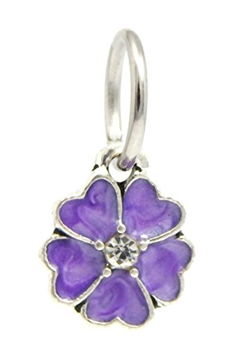 J&M Dangle Violet Flower Charm Bead for Charms - Violet Pandora