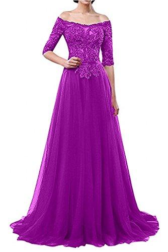 Abendkleider Festlichkleider mia Langes Ballkleider Schulterfrei Linie Braut La Festlichkleider A Brautmutterkleider Violett qYBwZxnwdt