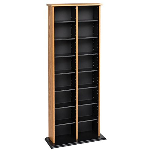 Prepac Double Multimedia Tower Storage Cabinet, Oak and ()