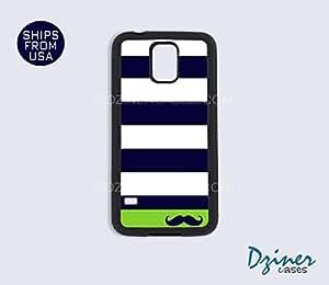 Galaxy S5 Case - Blue White Green Stripes Mustache wangjiang maoyi