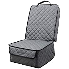 HAPYFOST Waterproof Front Seat Cover Dog Car Seat Covers Nonslip and Full Protection with Side Flaps Fits Most Cars, Trucks, SUVs(Grey 1 Pack)