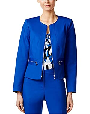 Calvin Klein Women's Peplum Back Zip-Up Blazer