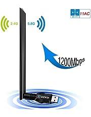 ANEWISH 1200Mbps WiFi Adattadore Scheda di Rete USB 3.0 Chiavetta WiFi con Antenna 5dBi Ricevitore WiFi per PC