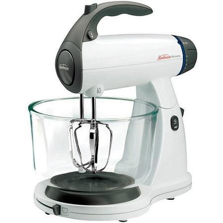 Sunbeam White 12 Variable Speed 350 Watt Mixmaster Stand Mixer With Glass Bowl