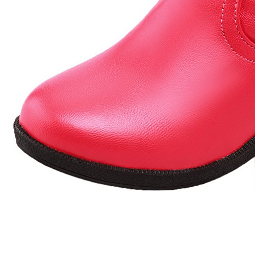 Allhqfashion Para Mujer Kitten-heels Soft Material High-top Solid Pull-on Botas Rojo