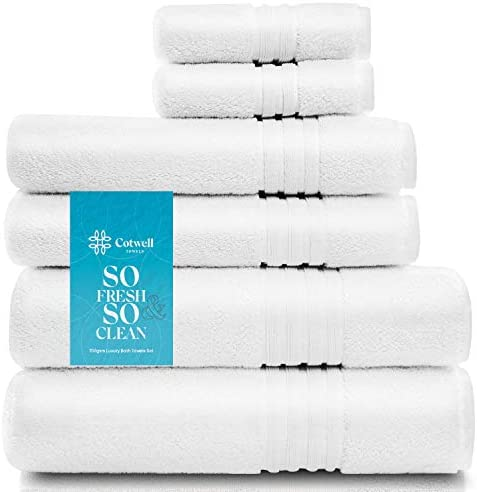 Cotwell Luxury White Towels Set for Bathroom with Hand Towels and Face Towels - 700gsm Premium Hotel & Spa Quality - 100% Ring Spun Turkish Cotton (White, 6pcs Bath Towel Set)