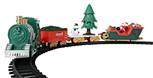 Battery Operated Classic Christmas Santa Clause Train and Carriage Toy Set with Music and Lights, Great Christmas Gift for Kids