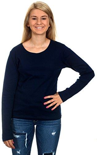 Women's Casual Long Sleeve Shirt (Navy Blue, X-Large)