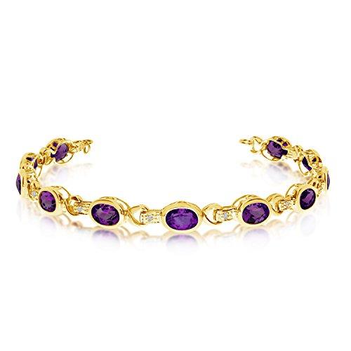 14K Yellow Gold Oval Amethyst and Diamond Bracelet (9 Inch Length) -
