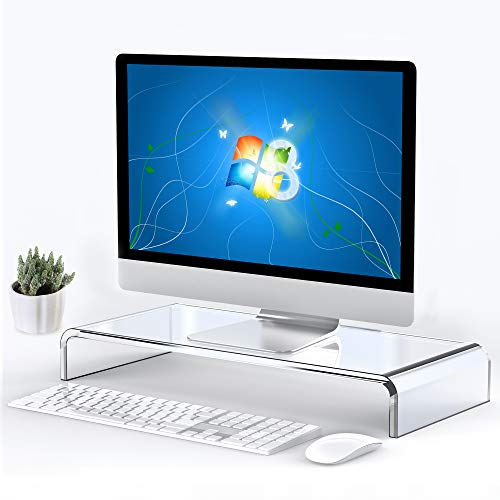 Beimu Computer Monitor Stand Riser Clear Acrylic Laptop Stand Desk Monitor Riser for iMac Stand Home Office Accessories…