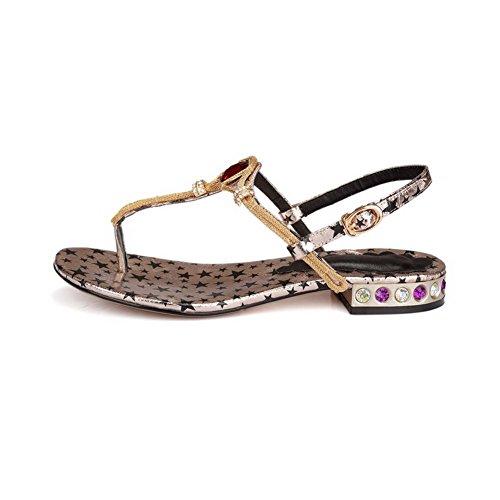 Toe Heels Low Color Gold Assorted Materials AmoonyFashion Womens Sandals Buckle Blend Split HxTEOqRw