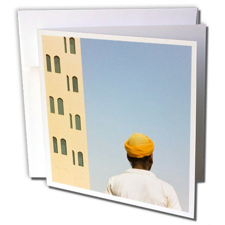 Danita Delimont - Dubai - Arabic man with traditional house, Dubai, UAE - AS44 KSU0002 - Keren Su - 6 Greeting Cards with envelopes (gc_133277_1)