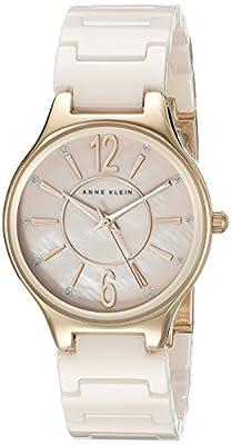 Anne Klein Women's AK/2182RGLP Glitter Accented Rose Gold-Tone and Light Pink Ceramic Bracelet Watch