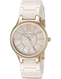 Women's AK/2182RGLP Glitter Accented Rose Gold-Tone and Light Pink Ceramic Bracelet Watch