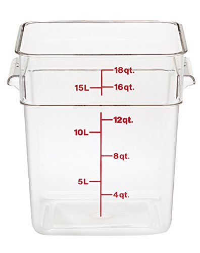 Cambro 18SFSCW135 CamSquare Clear Food Container With Handles 18 QT - Case of 6 by Cambro