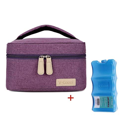 Breastmilk Cooler with Ice Pack Healthy Baby Daycare Set - Keep Food Warm or Cool for Go Out Lunch Bag-Large Capacity Storage for 6 Breastmilk Bottles in 5oz Bottle Tote Bags,Purple ()