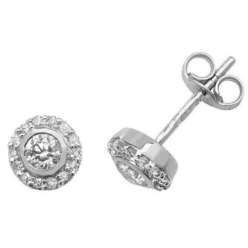 Lot de boucles d'oreilles diamant or blanc 9carats autour H I130D 0,25carats