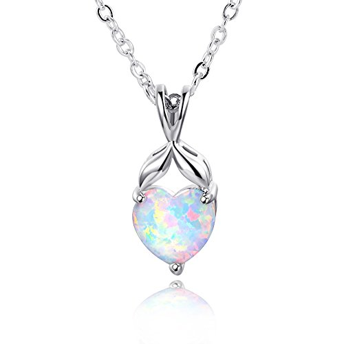Opal White Pendant Fire - Heart Stone Pendant Necklaces White Fire Opal Birthstone Friendship Gift for Women Girls 19 Inch