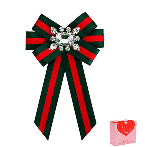 HEKEUOR Rhinestone Crystal Ribbon brooches Bow Brooch pre-Tied Bow tie for Women Wedding Party Bow Tie (Green+Red)
