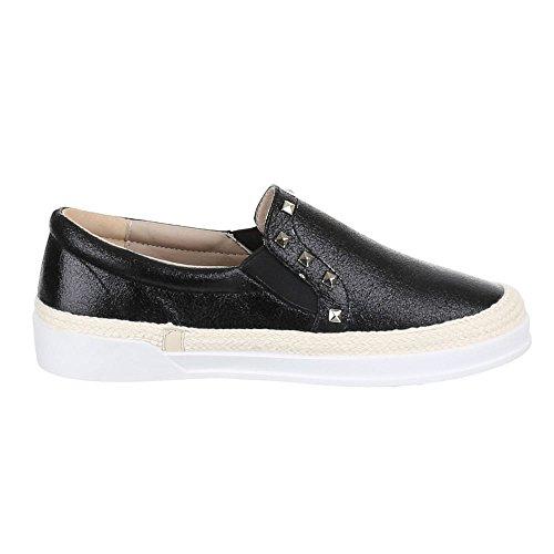 Ital-Design Damen Schuhe, 2311-Y, Halbschuhe Slipper mit Nieten Schwarz