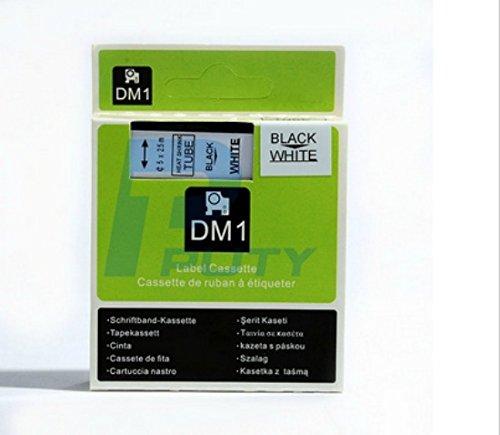 Rhinopro White Heat Shrink Tube - DYMO DM-1 Rhino-Pro Compatible Heatshrink tube/tape 9mm, Black/White, 3/8