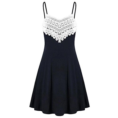 Caopixx Womens Mini Dress Crochet Lace Halter Mini Slip Dress Sleeveless T-Shirt Dresses