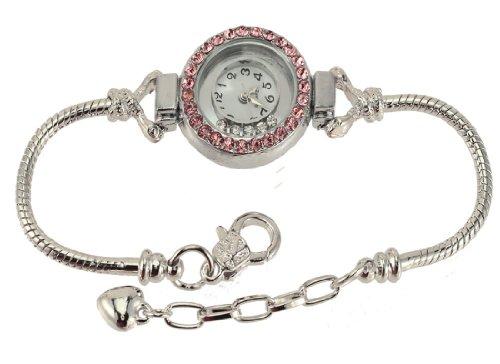 Add-A-Link-Of-Charm-Pandora-Style-Watch-Round-Pink-Cz-with-Cz-float