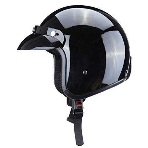 Ambienceo Gloss Black DOT Approved Adult Motorcycle Safety 3/4 Open Face Crash Helmet for Scooter Cruiser (Large)